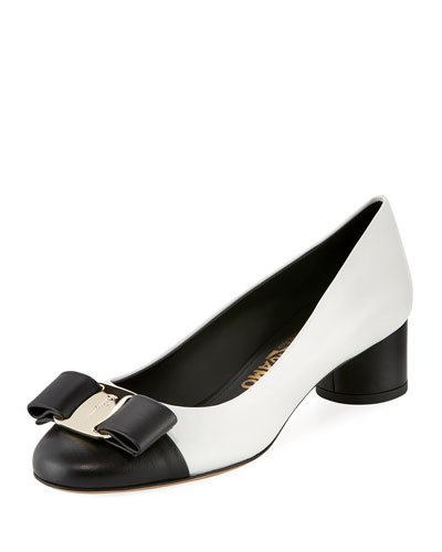 Two-Tone Leather Bow Pump