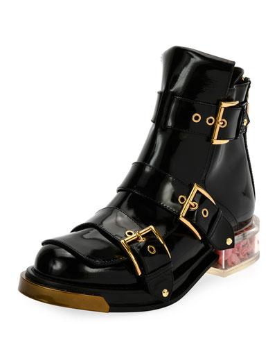 Three-Buckle Boot with Display Heel, Black