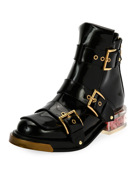 Alexander McQueen Leather Buckled Boots