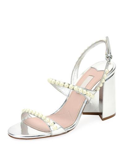 Pearly Beaded Block-Heel Sandal