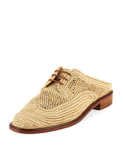 Jaly Raffia Lace-Up Mule