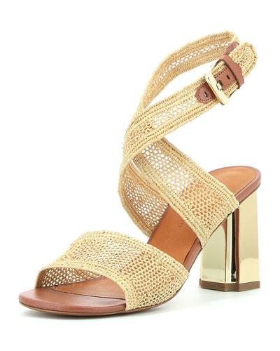 Zorap Raffia Ankle-Wrap Sandal
