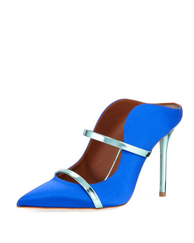Maureen Satin Two-Strap Mule