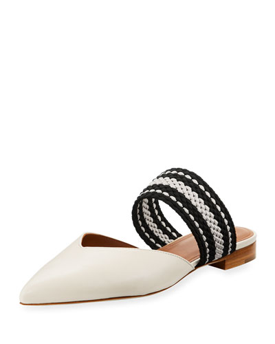 Hannah Mixed Flat Mule, White