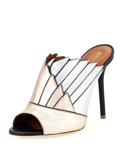 Donna Colorblock Metallic Mule
