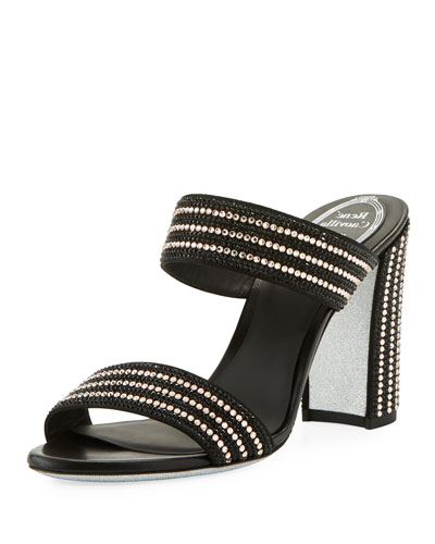 90mm Satin Slide Sandal w/ Allover Crystals