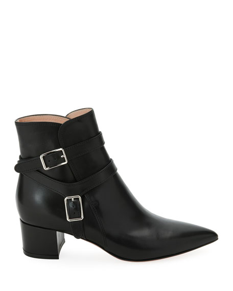 Leather Booties with Belt Detail