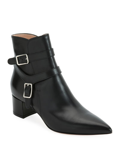 Leather Bootie with Belt Detail