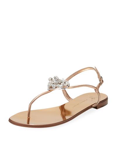 Metallic Leather Jeweled Sandal