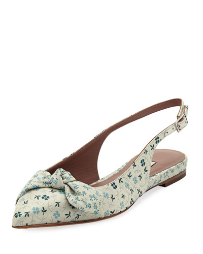 Knotty Floral Pointed Slingback Flat