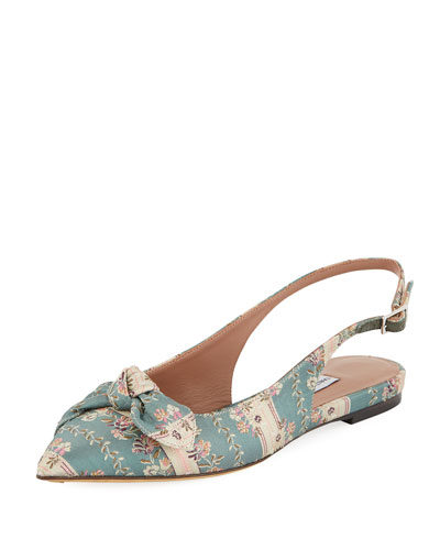Knotty Floral-Stripe Pointed Slingback Flat
