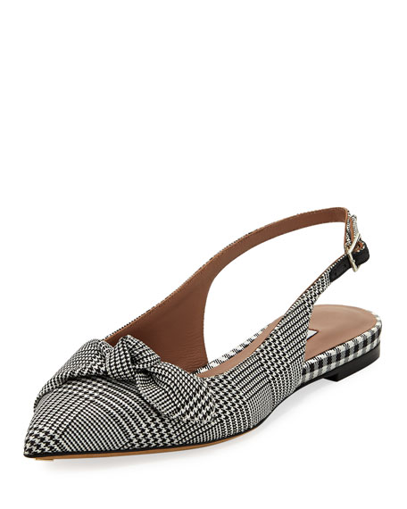 Knotty Houndstooth Slingback Pointed Flat