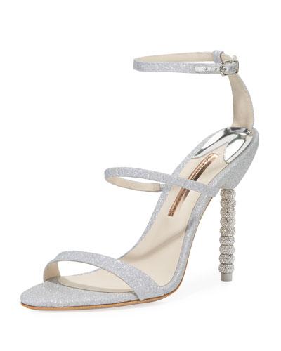 Rosalind Crystal-Heel Glitter Sandal