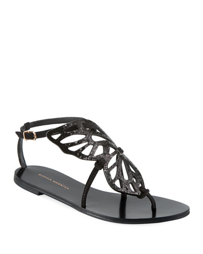 Bibi Butterfly Flat Sandals, Black