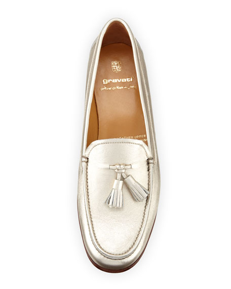 Metallic Leather Tassel Moccasin