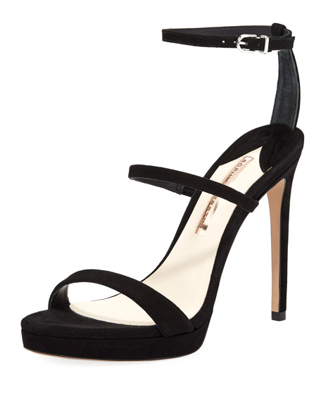 Rosalind Strappy Suede Mid-Heel Sandal in Black