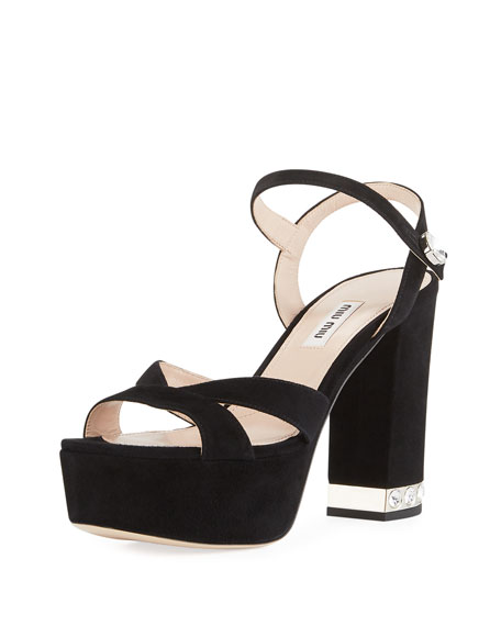 3228b057678a Miu Miu Suede Chunky-Heel Platform Sandal