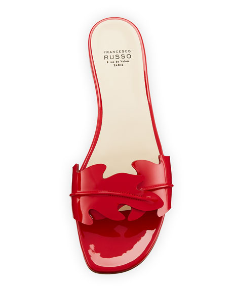 Flat Leaf Patent Slide Sandal