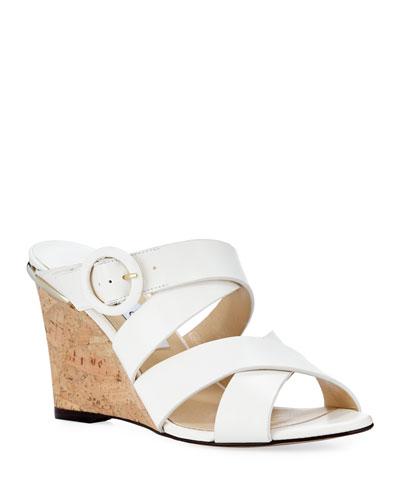 Delila Vachetta Leather Wedge Slide Sandals