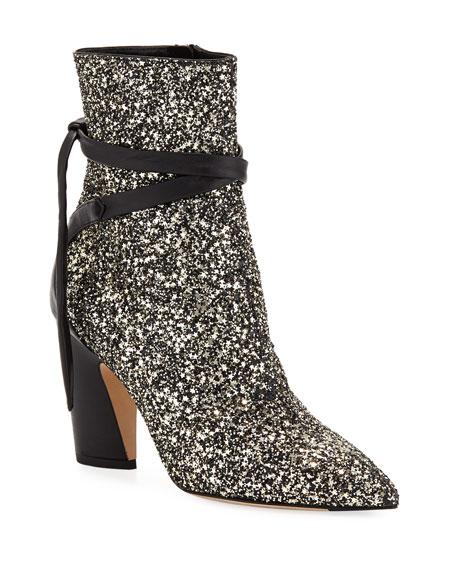 Henrietta Glitter Star Booties in Gold Mix/Black