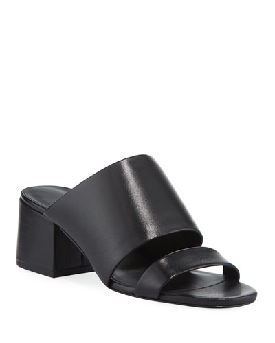 Cube Leather Block-Heel Slide Sandal