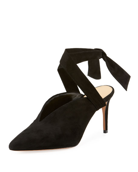 SALLY SUEDE ANKLE-WRAP PUMPS