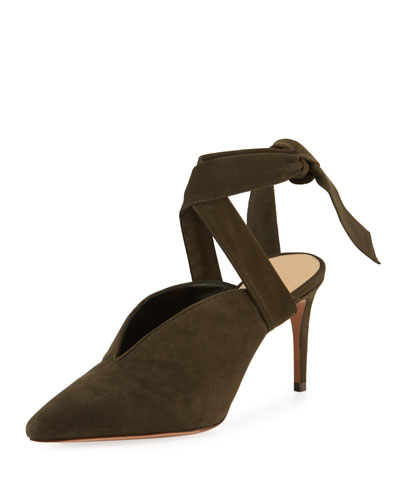 Sally Suede Ankle-Tie Pump