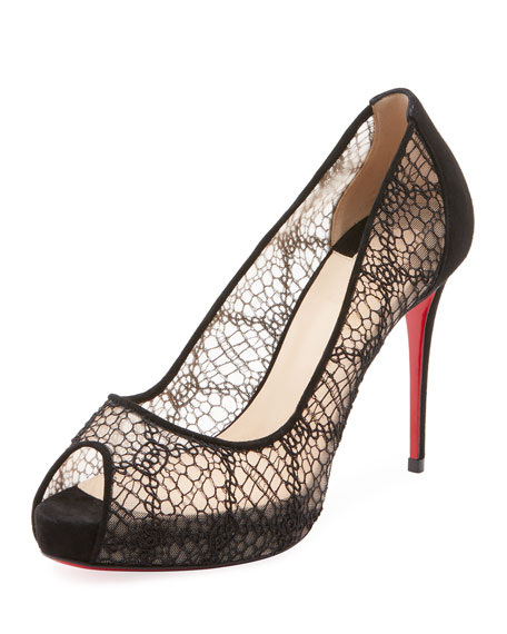 Very Lace 100Mm Peep-Toe Red Sole Pumps, Black