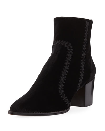 Benta Velvet Ankle Bootie with Whip-Stitch Detail