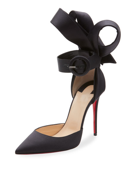 Raissa 100 Bow-Back Satin Pumps, Black