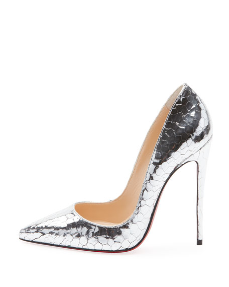 detailed pictures 8da54 61654 So Kate 120mm Metallic Crackled Leather Red Sole Pumps