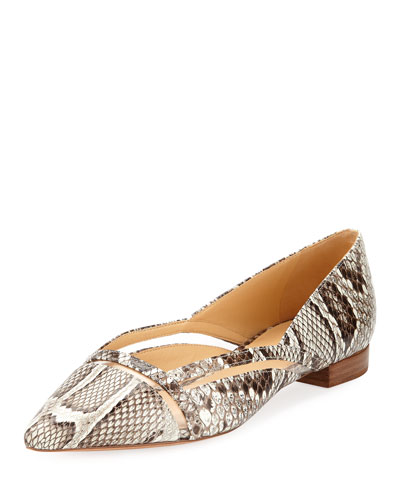 Sommer Python Snakeskin Ballet Flats with Vinyl Cutout