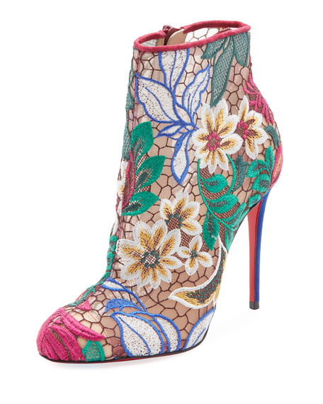 Miss Tennis Embroidered Red Sole Booties, Multi