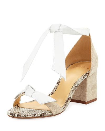 Clarita Mixed Block-Heel Sandal