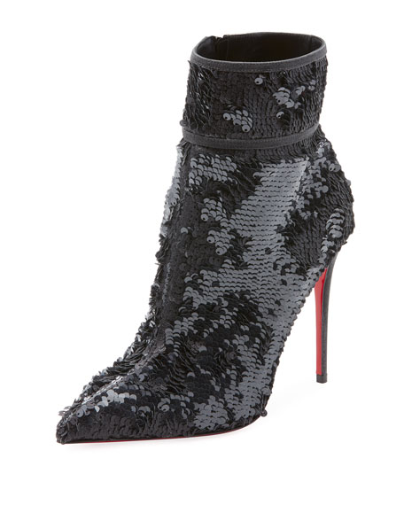 Moula Kate Sequin Red Sole Booties, Black