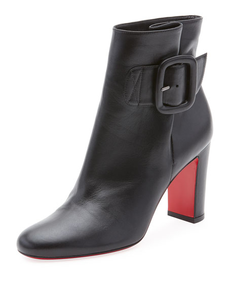 Tres Olivia Napa Leather Buckled Red Sole Booties, Black