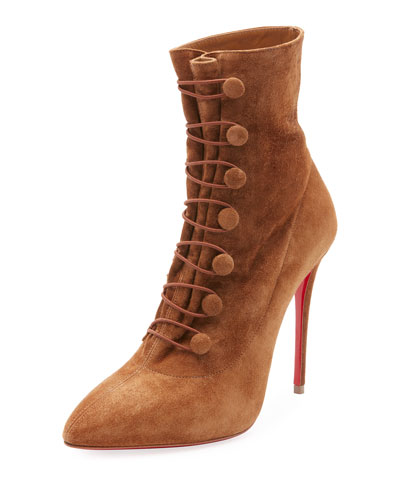 French Tutu Button-Loop Suede Red Sole Bootie