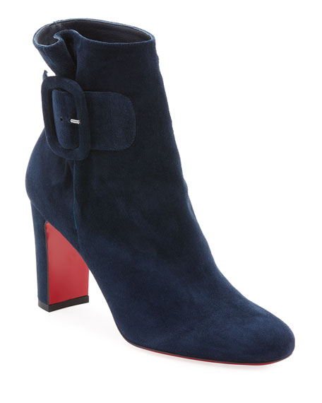 Tres Olivia Suede Buckled Red Sole Booties in Marine Suede
