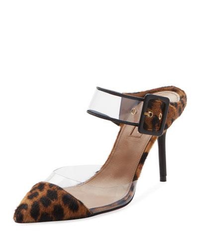 Optic Slide Pointed Leopard-Print Fur Mule