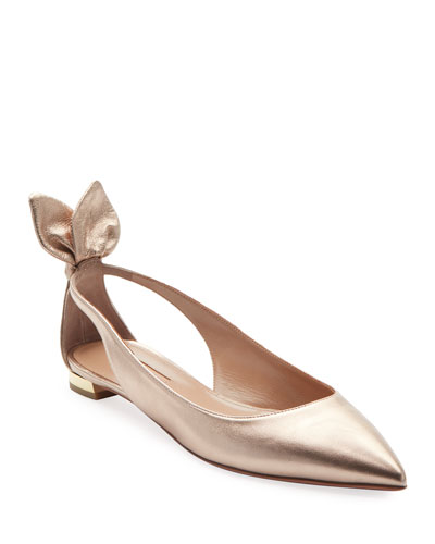 Deneuve Metallic Leather Ballerina Flat