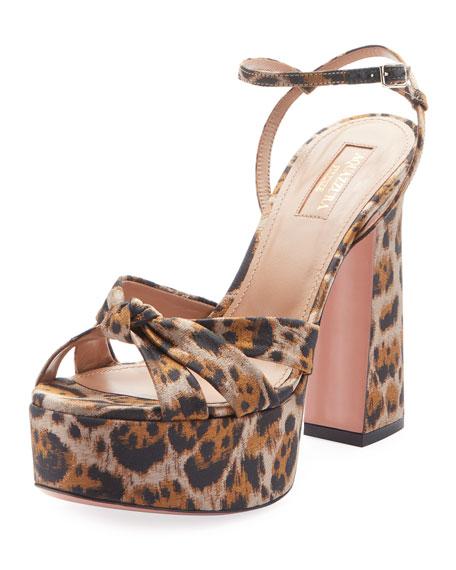 40ee868bad1b Aquazzura Baba Plateau Leopard Fabric Platform Sandal