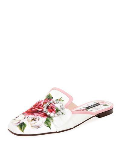 Floral Embellished Slide Mule