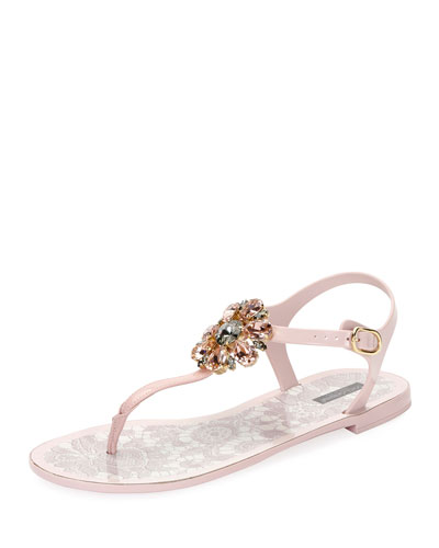 Jeweled Thong Flat Sandal