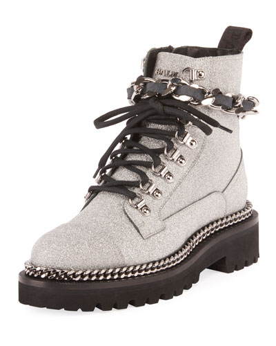 Army Glitter and Chain Boot