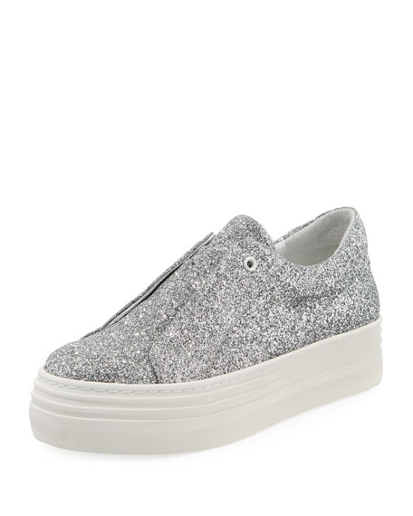 HERE/NOW Leah Glitter Laceless Slip-On Platform Sneakers, Silver