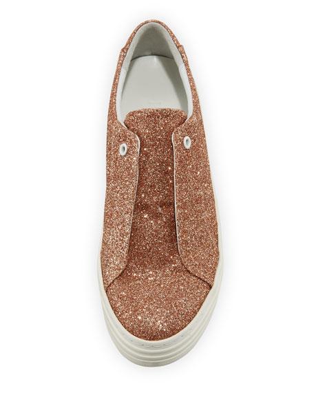 Rosie Glitter Laceless Slip-On Platform Sneaker, Rose Gold