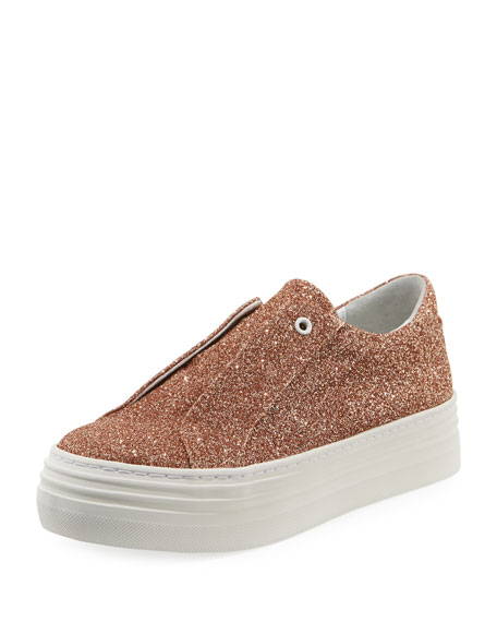 HERE/NOW Rosie Glitter Laceless Slip-On Platform Sneakers, Rose Gold