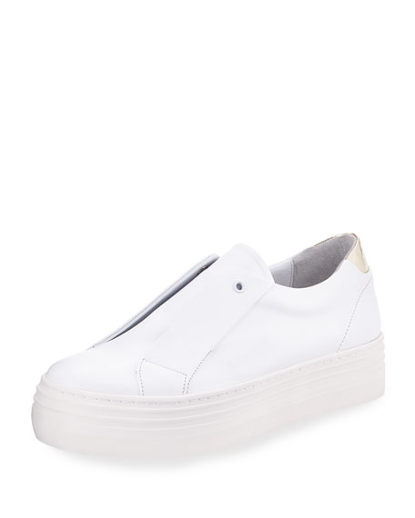 HERE/NOW Platform Leather Slip-On Sneakers in White