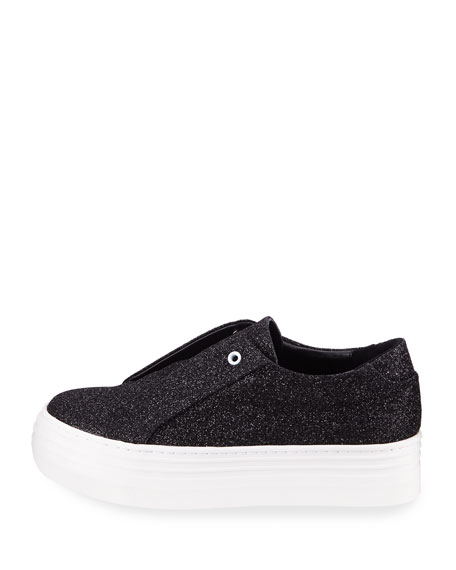 Nancy Glitter Laceless Slip-On Platform Sneaker, Black