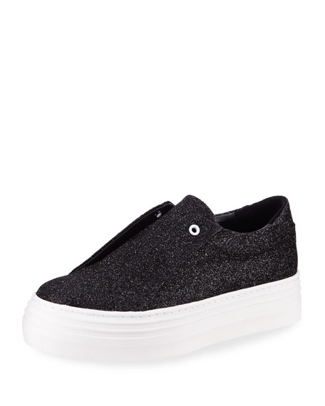 Nancy Glitter Laceless Slip-On Platform Sneakers, Black